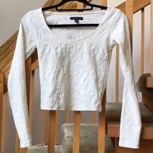 White Lace Long-sleeved Top